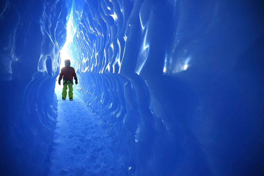 Entering the ice tunnels